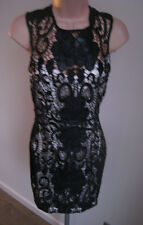 *LIPSY* Black Lace Over Ivory Satin Backless Cocktail Dress - BNWT Size 6