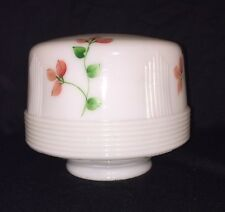 Vintage Art Deco Hand Painted Ribbed Milk Glass Light Shade Ceiling Fixture
