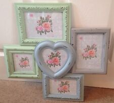 5 piece Shabby Chic Heart Pastel Colours Photo Frames Victoriana Home Family