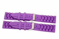 2 PIECES 22MM PURPLE SILICONE RUBBER SPORT WATCH BAND STRAP FITS FOSSIL