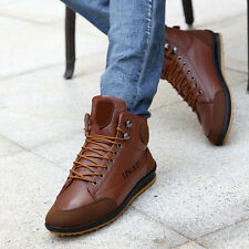 Men's Winter Warm Leather Waterproof Light Boots High -Top Lace Up Casual Shoes