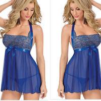 Plus Size 8-22 Sexy Womens Blue Lace Lingerie Dress Underwear Sleepwear+G-string