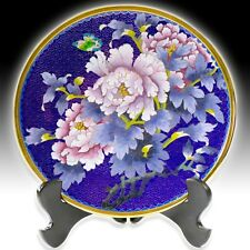 "LARGE CHINESE CLOISONNE 10"" DISPLAY PLATE PEONIES DESIGN WITH CERTIFICATE & BOX"