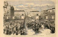 Stampa antica TORINO Napoleone e V. Emanuele in piazza Castello 1859 Old print