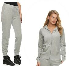 New Women's Juicy Couture Tracksuit gray Velour Hoodie Jogger Pants XS 2pc set