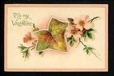 Novelty vintage Open Booklet postcards Valentines Day leaves flowers