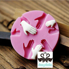 Newest Human Hand Fondant Cake Decorating Silicone Mould Fimo DIY Mold Tools