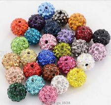 10MM MIX Color 100 Pcs Crystal Shamballa Beads Pave Disco Balls Bracelet Making
