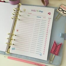 A5 Planner Insert Filofax Kikkik Punched Carp Diem Bills To Pay Finance KAWAII