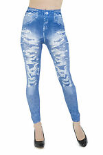 Ripped Faded Jean Jeggings Leggings  - Full Length Jeans Leggings - Size 6 UK