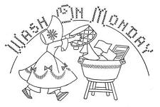 Days of the Week Sunbonnet Girls 1509 for Kitchen Dish Towels iron on embroidery