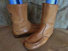 Vintage Bass Sugarloafers Tan Leather Men's  fleece lined ANKLE BOOTS sz 9.5 EUC