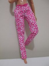 Barbie Doll Clothing FASHIONISTAS ADD ONS! pink designs on white jeans pants
