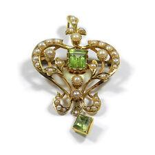 Jugendstil um 1900 Anhänger/Brosche mit Peridot & Perlen in 15 K Gold Edwardian