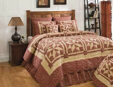 Evelyn Wine 100% Cotton King Quilt Wine & Tan, IHF Comforter, Quilted Bedspread