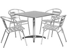 "31.5"" Square Restaurant/Cafe/Bar Indoor/Outdoor Aluminum Table with 4 Chairs"