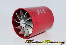 RED ALUMINUM FAN PROPELLER AIR INTAKE FUEL GAS SAVER TURBONATOR SUPERCHARGER