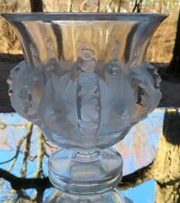 Lalique Crystal Dampierre Vase Sparrows and Vines France Mint