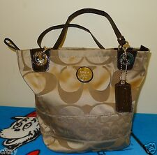 Coach 14449 Alex Signature Sateen & Patent Leather Large Tote Tan/Brown