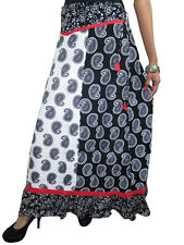 INDIAN ETHNIC MAXI SKIRT BLACK WHITE PAISLEY PRINT COTTON PEASANT LONG SKIRTS