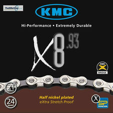 KMC X8-93 8 SPEED 18SPD/21SPD CHAIN  SIL/GRY 116L 7.3mm HALF NICKEL PLATED