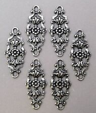 #1118 ANTIQUED SS/P OPEN FILIGREE 2-RING CONNECTOR - 6 Pc Lot