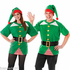 Para Hombre señoras Jolly Elf Santa's ayudante Gruta Fancy Dress Costume Top Cinturón Y Sombrero