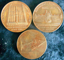FRANCE- 1878 &1889  PARIS UNIVERSAL EXPOSITION  -THREE BRONZE MEDALS