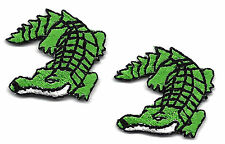 LOT OF 2 ALLIGATORS, GREEN GATORS-Iron On Embroidered Applique Patch