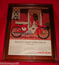 VINTAGE 1963 FRAMED AD HONDA 50 SCOOTER 50CC MOTOR OHV ENGINE OLD AD NEW FRAME