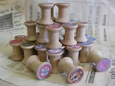 12 French Sajou Mini Wooden Bobbin Spools- Lovely vintage style Labels