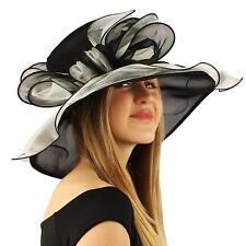 Fancy Kentucky Derby Floppy Ruffle Glass Organza Ribbon Church Hat Black White
