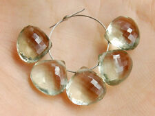 AAA Natural Green Amethyst Faceted Heart Briolette Semi Precious Gemstone Beads