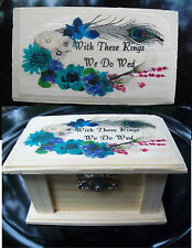 Wedding PEACOCK Feather CALLA Lily Flowers Bridal Ring Bearer Pillow Wood BOX