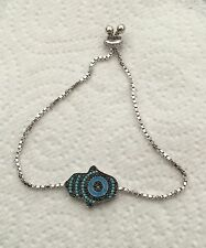 Sterling Silver 925 Hamsa Hand Bracelet With Turquiose Stones