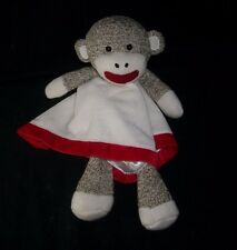 BABY STARTERS BROWN SOCK MONKEY RED SECURITY BLANKET STUFFED PLUSH TOY LOVEY