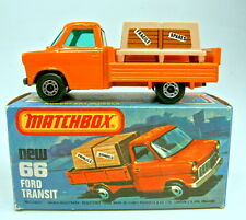 "Matchbox SF 66C Ford Transit hellorange schwarze Bodenpl. top in ""K"" Box"