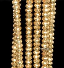 6MM GOLD HEMATITE GEMSTONE YELLOW GOLDEN FACETED RONDELLE 6X3MM LOOSE BEADS 16""