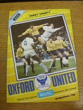20/02/1988 Oxford United v Derby County  . Footy Progs (aka bobfrankandelvis) ar