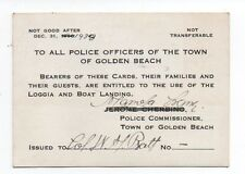 1938 Pass Card to Boat Landing for Police Officers of Golden Beach Florida