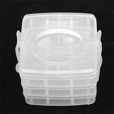 1 set Clear Rectangle Three Layers Plastic Bead Containers Storage Supplies