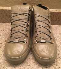 Balenciaga Arena High Top Sneaker Size 47 US 14 Olive Green Creased Leather