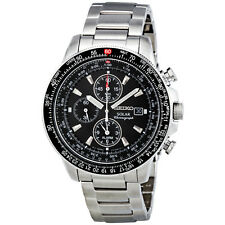 Seiko Solar Flight Black Dial Alarm Chronograph Mens Watch SSC009
