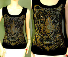 NWT ST JOHN SHINY MEZZO TIGER SHELL sz S VISCOSE JERSEY GREAT GIFT T SHIRT TOP