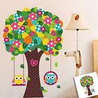 Cute Owl Swing Flower Tree Wall decal Removable sticker kids nursery decor mural
