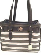 Tommy Hilfiger Handbag Dark Brown Gray Stripe Shopper Shoulder Bag Tote $85