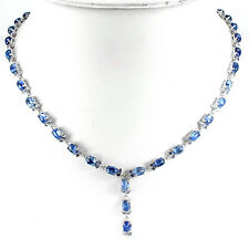 Silver 925 Genuine Natural Cabochon Kyanite & Faceted Tanzanite Necklace 18 Inch