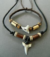 SHARK TOOTH NECKLACE BRACELET WRISTBAND MENS WOOD BEAD SET sharks teeth