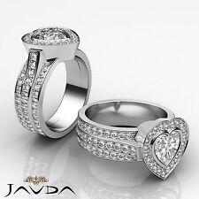 Bezel Heart Shape Diamond Engagement Heavy Ring EGL F VS1 14k White Gold 2.65 ct