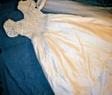 Forever Yours ivory silk wedding dress beaded bodice long train sz 12
